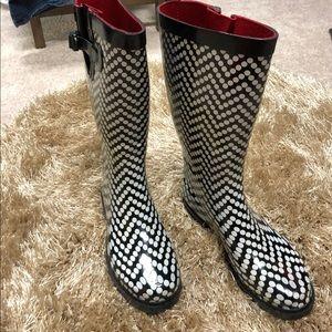 Capelli New York Black Polka Dot Rain Boots